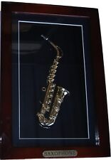 "Shadow Box framed with handmade miniature gold plated Saxophone (16"" x 9"")"