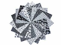 """17 10"""" Black and White Quilting Fabric Layer Cake Squares NEW ITEM-Buy It Now !"""