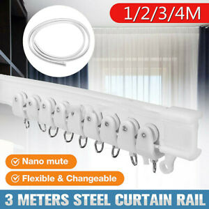 Flexible Side Ceiling Curtain Track Bendable Window Rod Rail Straight Curve