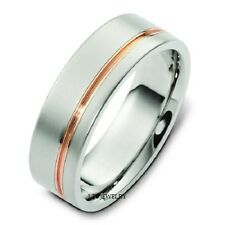 18K WHITE AND ROSE GOLD MENS WEDDING BANDS,TWO TONE GOLD WEDDING RINGS 6MM
