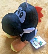 "Super Mario Plush Teddy - Black Yoshi Soft Toy - Size 7"" / 17.5cm NEW & Tagged"