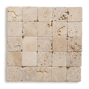 PIASTRELLE MOSAICO   pietra TRAVERTINO Light burattato 10x10 cm COMMERCIALE