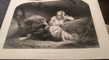 YOUNG MAIDEN Genevieve of Brabant Sleeping Baby Deer 1850s Antique Print
