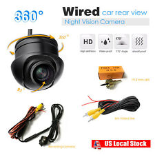 360°Rotatable Mini CCD Round Rear View Car BUS Back-up Camera IP67+Night Vision