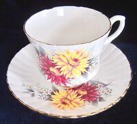 Salisbury Bone China Tea Cup & Saucer - Ruby Red & Yellow Flowers - 31T -England