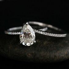 3.15Ct White Pear Cut Diamond Solitaire Engagement Wedding Ring Set 925 Silver