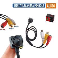 MINI MICRO TELECAMERA PINHOLE CAMERA SPIA SPY COLORI AUDIO CON MICROFONO CCD 02D