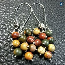 ✨ GROUPED SHIPPING DISCOUNTS Gorgeous Picasso Jasper Plated Silver Earrings