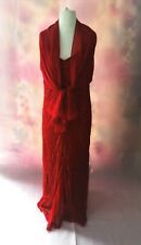 Size 18 Full Length Gown, Red, Sequined, Fishtail Shape, Matching Wrap