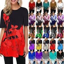 Женские 3/4 рукав цветочный туника топы женский повседневный, мешковатые футболка, блуза, плюс размер