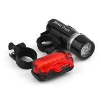 WATERPROOF BRIGHT 5LED BIKE BICYCLE HEAD & REAR LIGHTS LIGHT 6 MODES WIDE BEAM#K