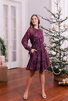 NEW $198 Gal Meets Glam Purple PRIMROSE Floral Dress Sz 4 Midi