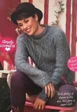 KNITTING PATTERN Ladies Cable & Ribbed Jumper Long Sleeve Sweater Rowan PATTERN