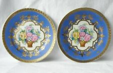 More details for vintage noritaki pair of cabinet plates. hand painted flowers. heavily gilded.