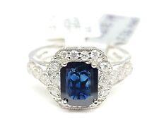 Classic Natural Emerald Cut Blue 1.80CT Sapphire & White CZ Art Deco Design Ring