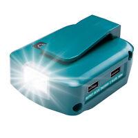 for Makita dewalt milwaukee 18V/14V li-ion battery to 5V2A USB DC12V with 3W LED