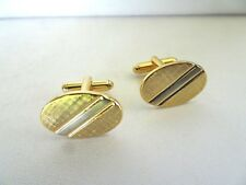 Men's Two Tone Stainless Steel Oval Laser Cut  Design Cuff Links