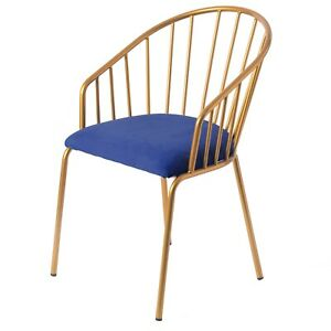 New Bold Tones Blue Silk Velvet and Gold Metal Modern Chair
