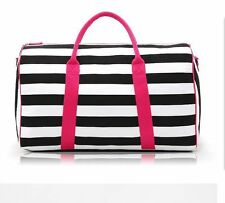 Striped White/Black Victoria's Secret Duffle, Weekender, Tote Bag, FREE Lanyard!