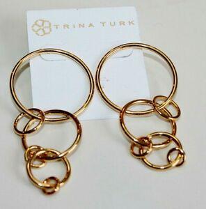 Trina Turk Earrings Gold plated 18kt Hoops & Rings statement post women's