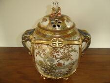 Antique Japanese Pottery Meiji Royal Satsuma Porcelain Koro Incense Burner Jar