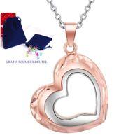 ❤️ Herzkette Herz-Anhänger Silber & Rosegold plattiert Damen-Kette Halskette ❤️