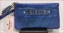 Juicy Couture Designer DOUBLE Wristlet Clutch Purse bag BLUE Metallic 🌟NEW🌟