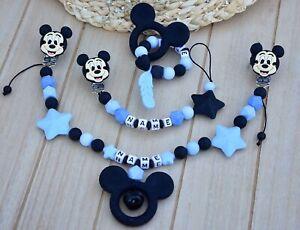 Set Schnullerkette mit Namen Mickey Mouse Kinderwagenkette Maxicosi Silikon blau