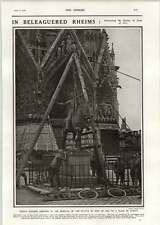 1918 French Soldiers Removing Statue Joan Of Arc Rheims For Safety