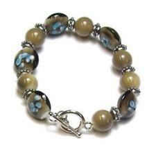 Brown Silver Bead T Bar Bracelet Women Girl Ladies Fancy Dress Party Jewellery