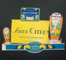 LOT 7 ETIQUETTES de SAVON CITRON PARFUM SCRAPBOOKING SOAP LABELS PARIS OLD