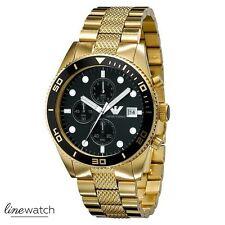 Emporio Armani AR5857 Sportivo Herren Uhr Chronograph Schwarz Goldfarben NEU OVP