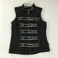Womens Tripp NYC Goth Zip Front Vest with Adjustable Cross Over Buttons Size M