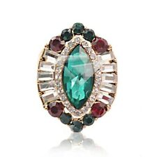 Emerald Fashion Retro Copper Alloy Gold Plated Vintage Jewelry Rings KW