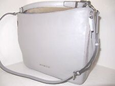 Michael Kors Essex Extra Large Pearl Grey Leather Top Zip Shoulder Bag NWT $368