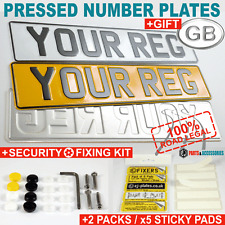Pressed number plates legal metal embossed car aluminium pair road gb 100 reg 2x