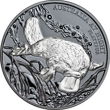 Niue 2018 Australia at Night Nocturnal Duck Billed Platypus $1 Silver Black Prf