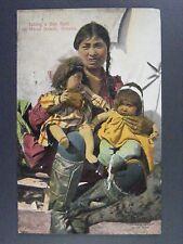 Nome Beach Alaska Yukon Pacific Expo Eskimo Mother Babies Antique Postcard 1909