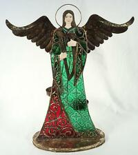 Large Colored Glass w/Metal Details Angel Playing Harp/Candleholder