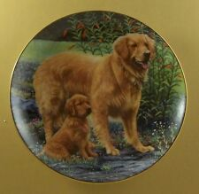 Golden Retrievers Goldens In The Garden Plate Dog Patricia Bourque Danbury Mint