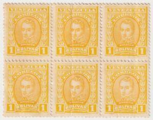 1911 Venezuela - Leaders of The Revolutionary War - Block 6 x 1 Bolivar Stamps