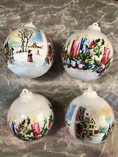 "Vintage Christmas Tree Ball Ornaments Holiday Prints on White Plastic 2 1/4"""