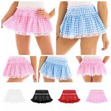 Mujer Hombre Sissy Falda Plisada Vestido de Tul Falda Escolar corto Mini Faldas De Cuadros Escoceses