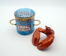 New French Limoges Trinket Box Red Lobster in Lobster Pot with Blue Fishing Net