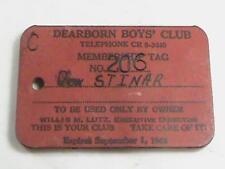 Dearborn Michigan BOYS' CLUB Membership Tag Pass w Vari View Felix on Back L@@K!