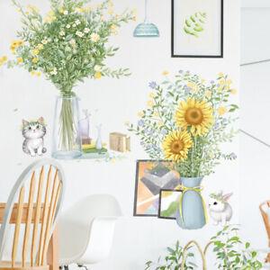 Sunflower Wall Sticker Flower Vase Potted Decal Background Art Mural Decoration
