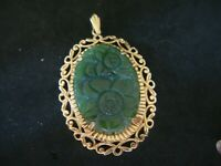 LARGE VINTAGE CARVED CHINESE SPINACH NEPHRITE JADE & HEAVY 9CT GOLD  PENDANT
