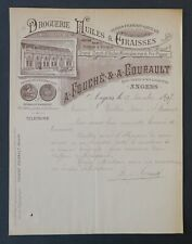 Facture 1897 FOUCHE a COURAULT ANGERS   HUILES ET GRAISSES  old bill Rechnung 5
