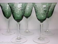 BOHEMIAN Czech Glass Set of Five Clear Stem Green Bowl Cut Pinwheel Wine Glasses