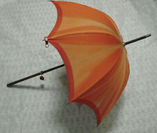 "VTG 20s 30s Little Umbrella Parasol ORANGE fade 22""w  Antique Wood Handle"